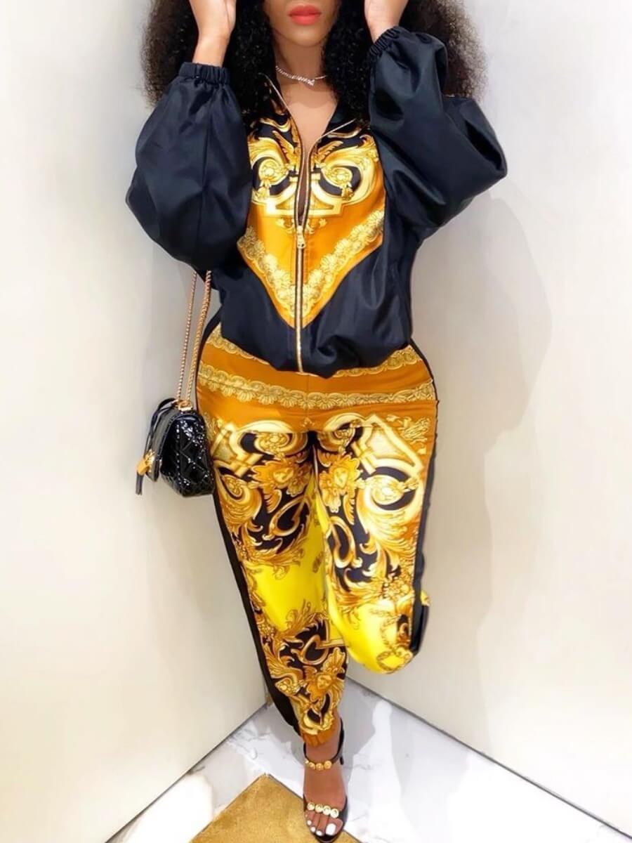 Lovely Trendy Turndown Collar Print Loose Yellow T