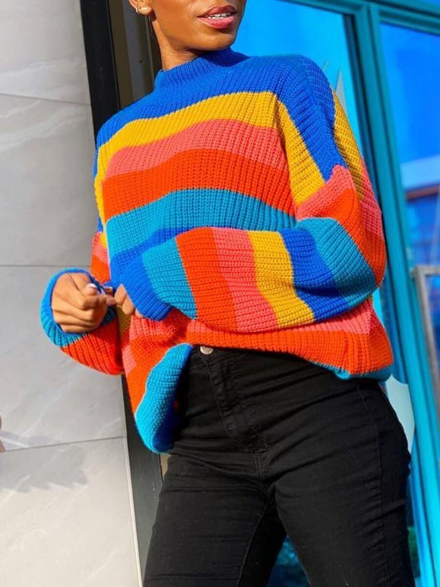 Lovely Street O Neck Rainbow Striped Multicolor Sw
