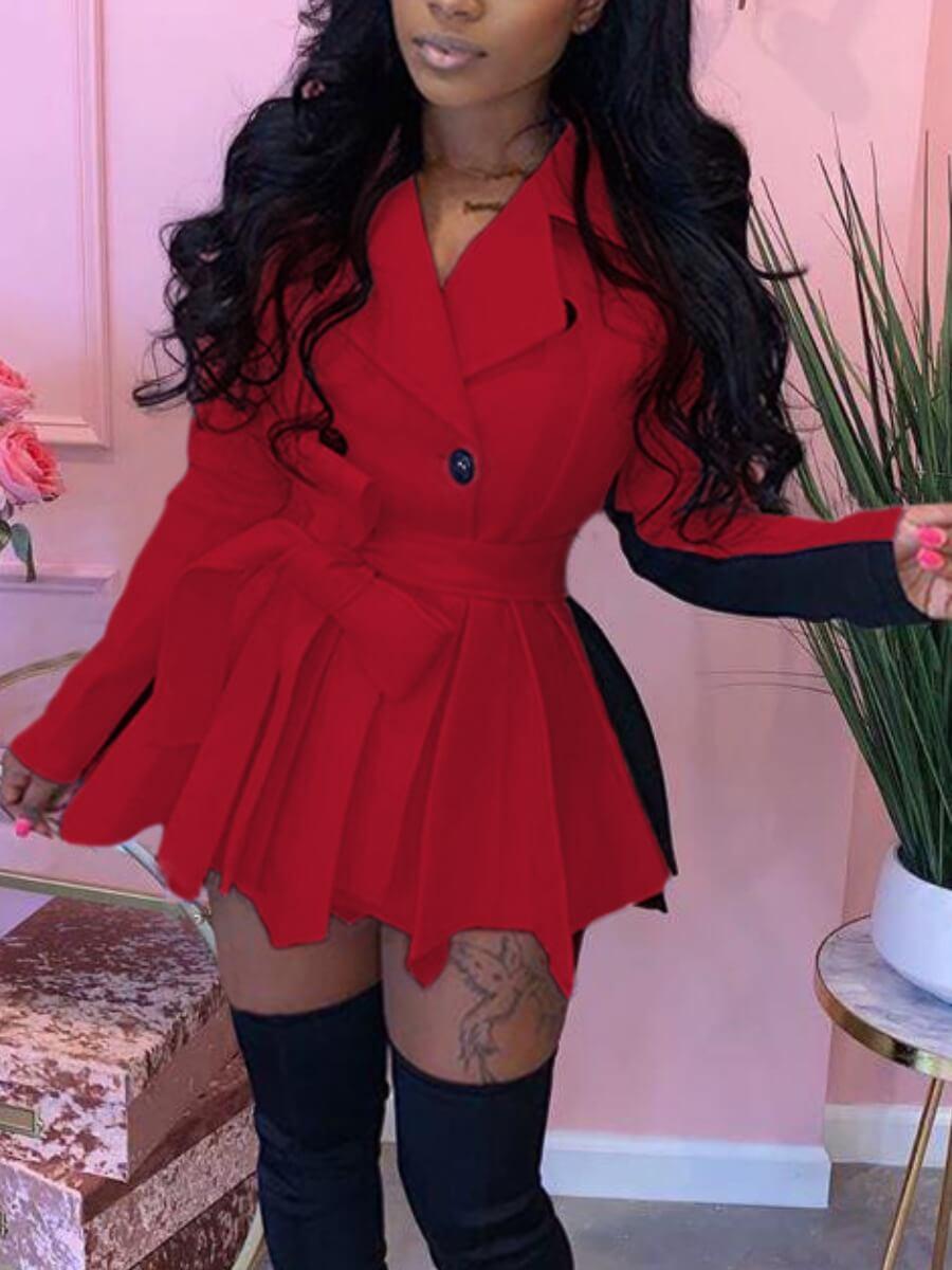 LW Trendy Turndown Collar Patchwork Fold Design Red Mini Dress