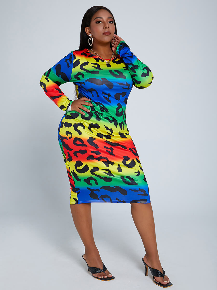 Lovely Casual O Neck Print Multicolor Knee Length