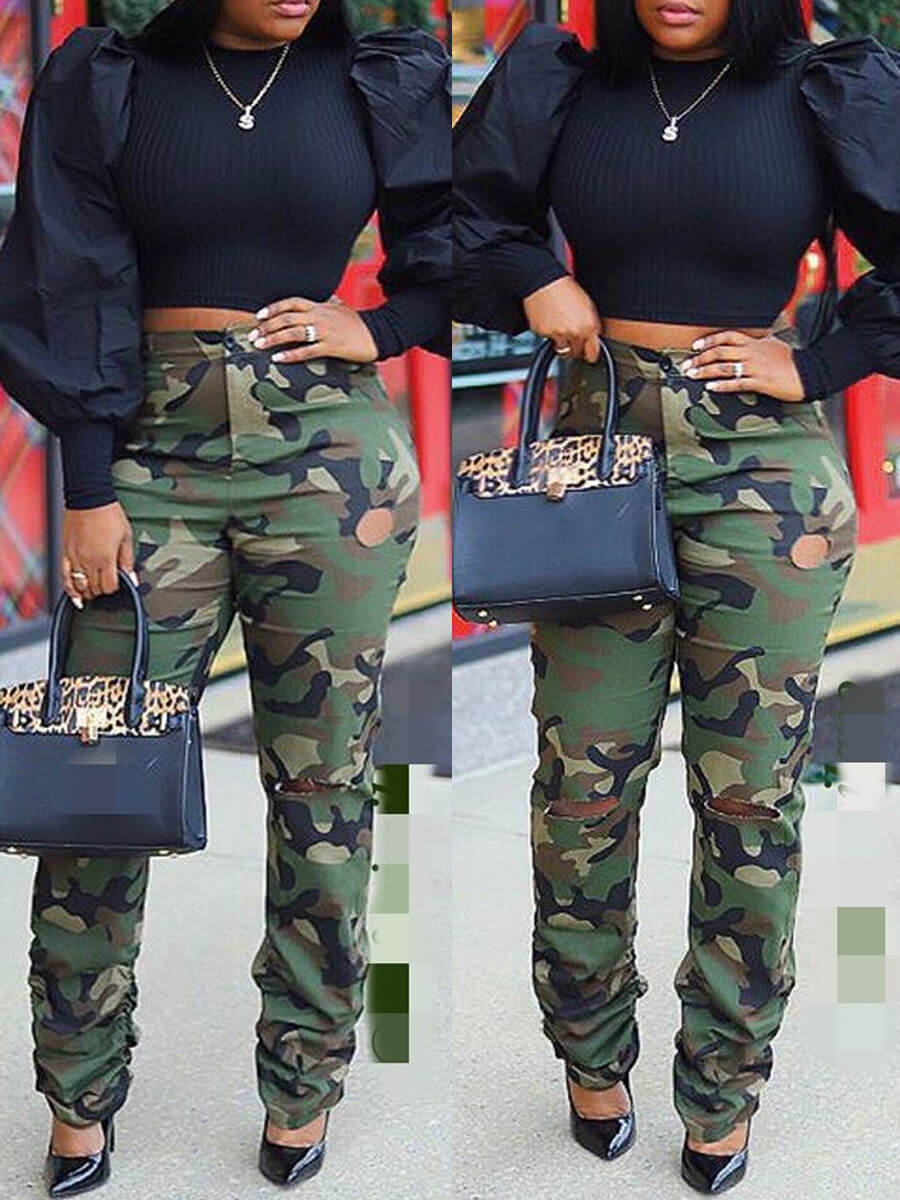 Lovely Street Camo Print Army Green Jeans