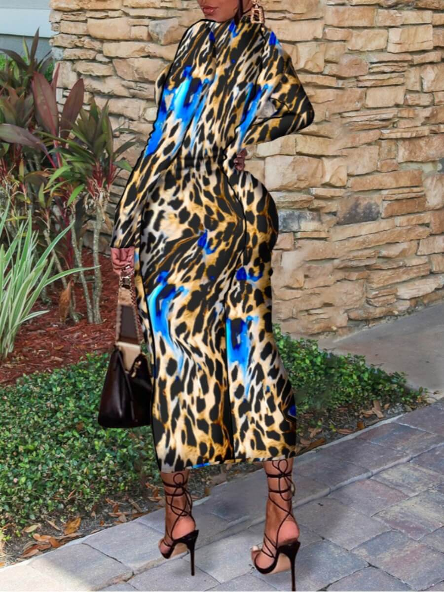 Lovely Half A Turtleneck Leopard Print Bodycon Dress