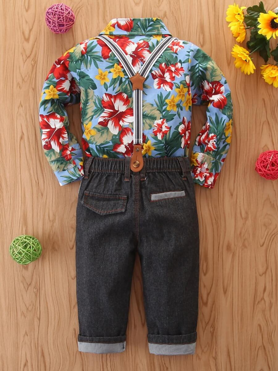 Lovely Stylish Shirt Collar Floral Print Baby Blue