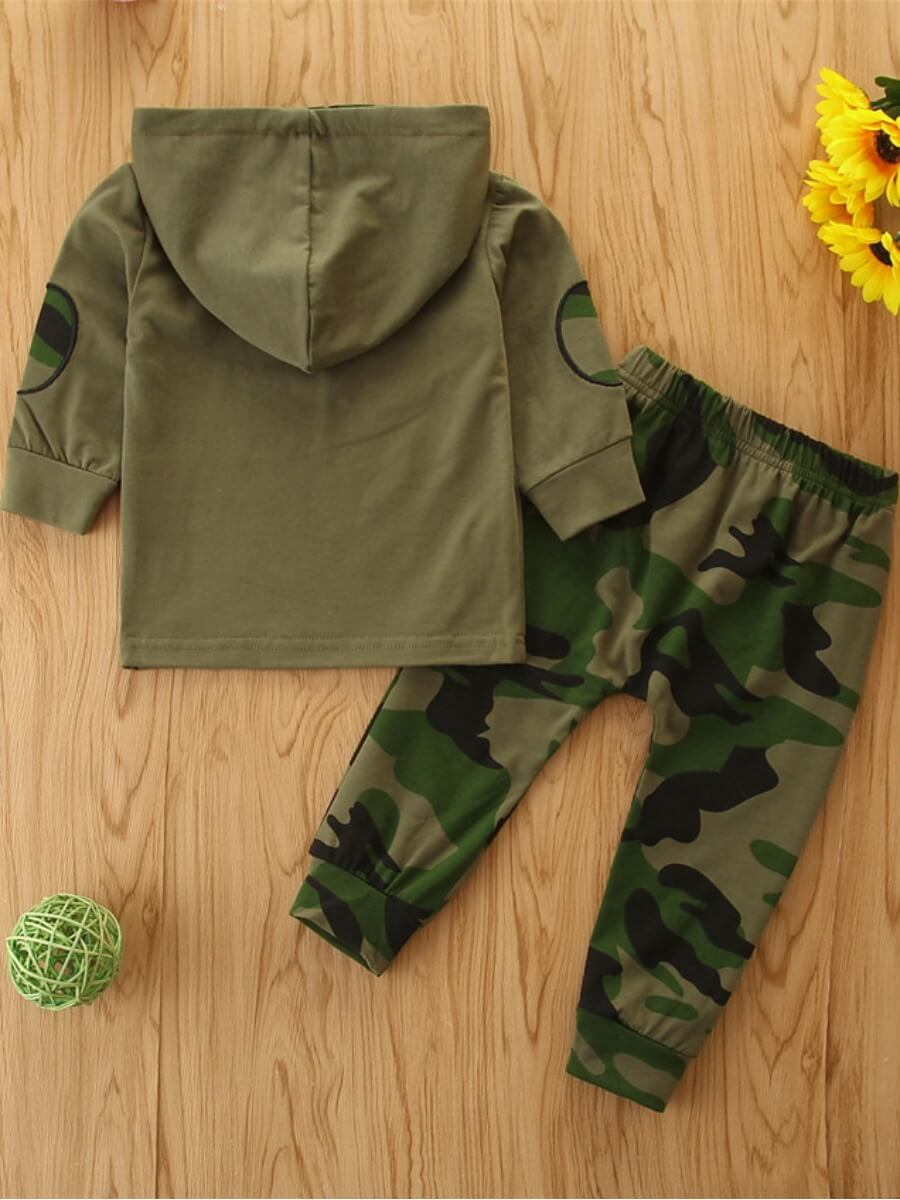 Lovely Casual Hooded Collar Letter Print Army Gree