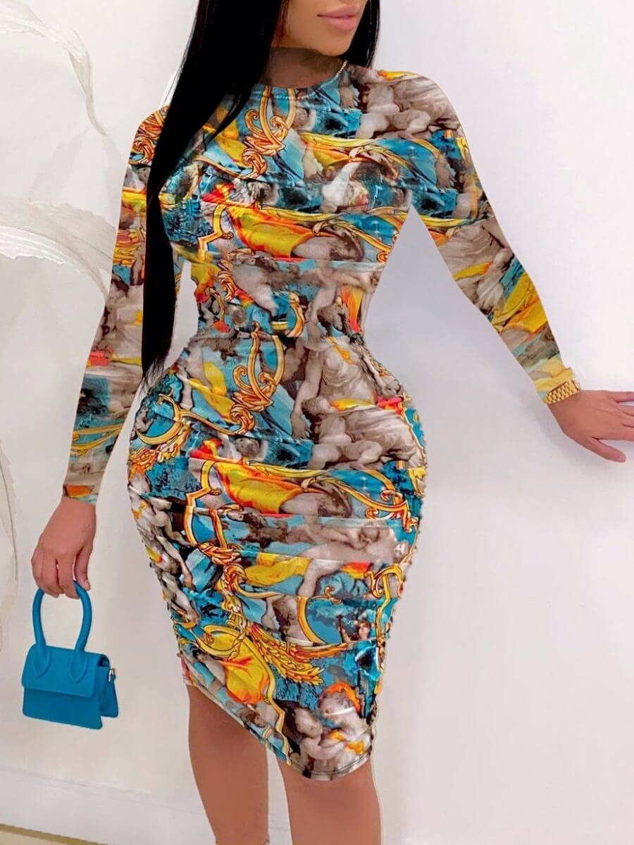 Lovely Trendy O Neck Print Skinny Skyblue Knee Len