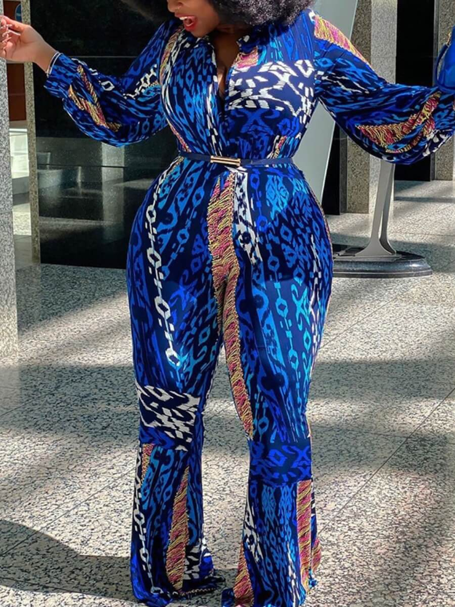 Lovely Stylish Print Blue Plus Size One-piece Jump