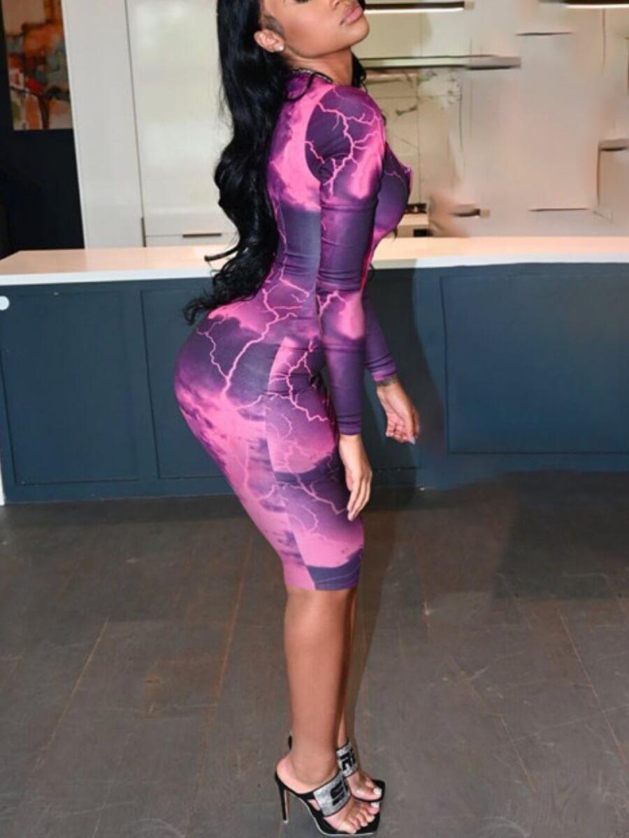 lovely Stylish Tie-dye Zipper Design Purple Knee Length Dress(Batch Print)