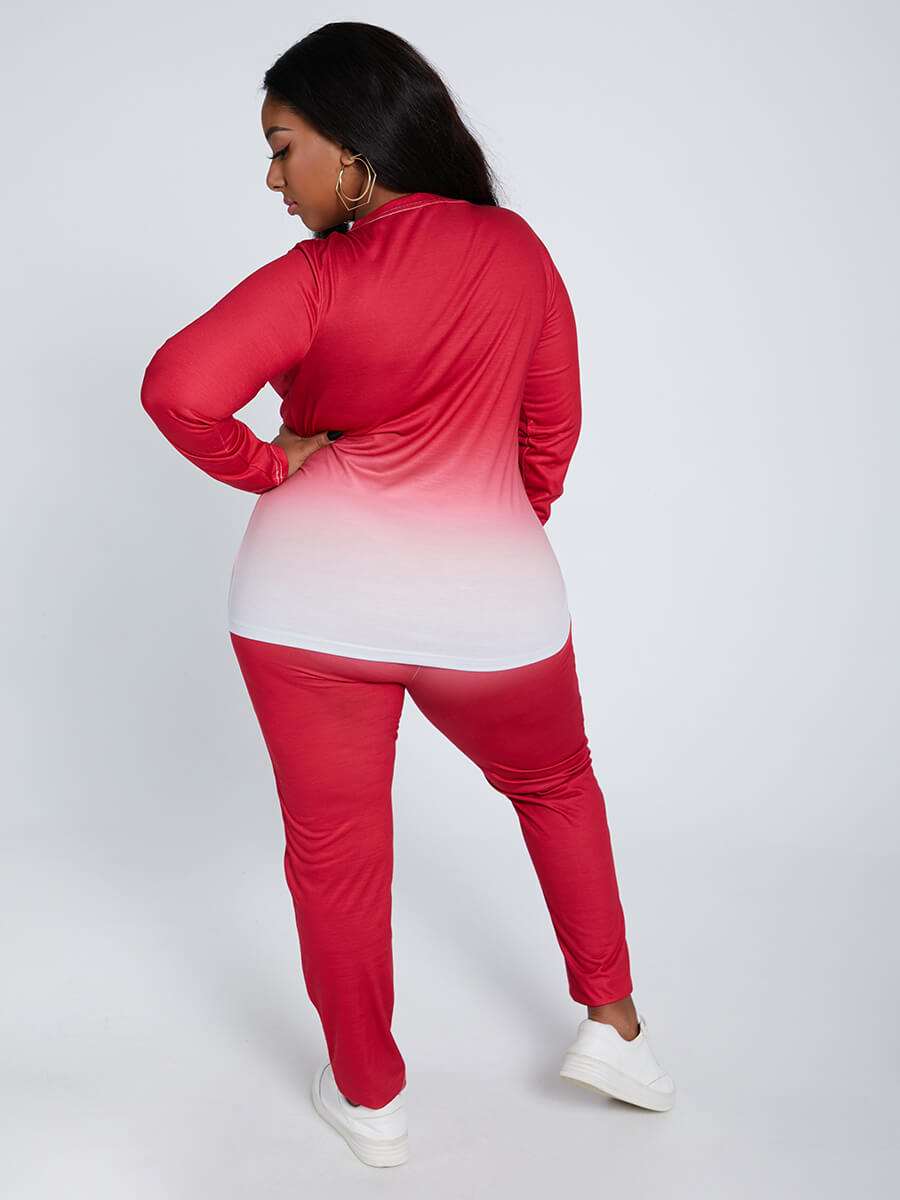 Lovely Casual O Neck Gradient Print Rose Red Plus