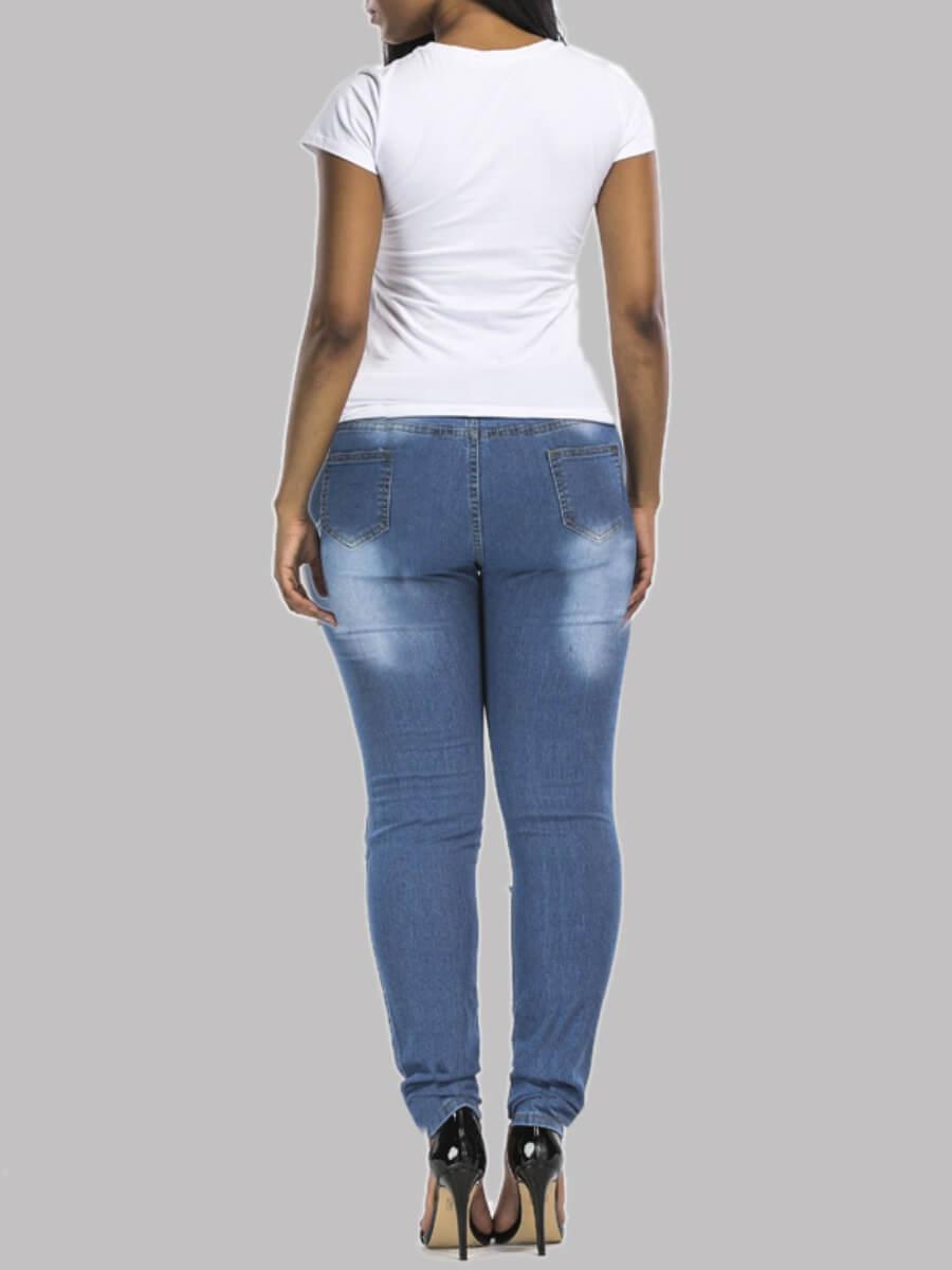 Lovely Stylish Broken Holes Skinny Blue Jeans