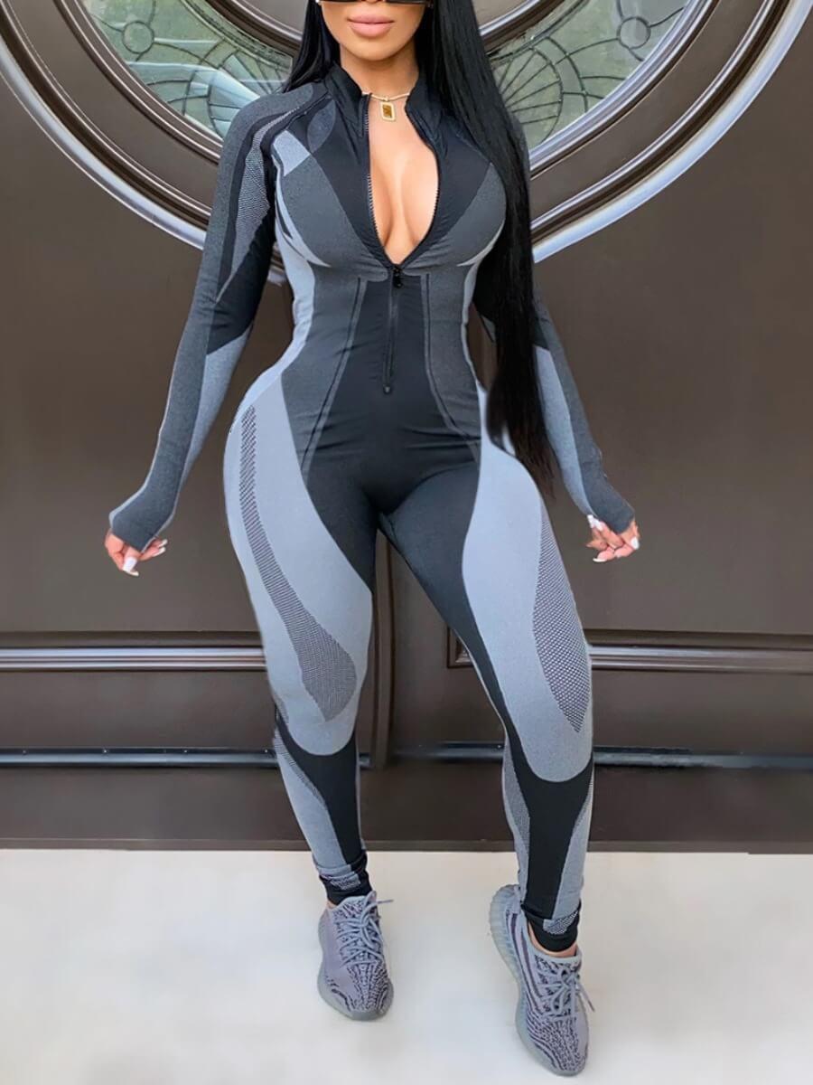 Lovely Sportswear Zipper Design Patchwork Black Pl