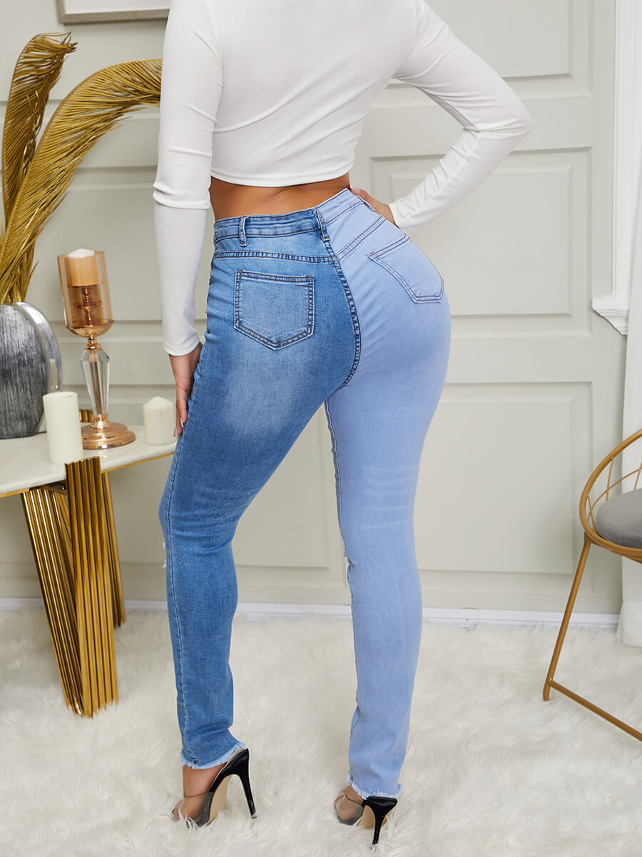 LW Trendy Broken Holes Blue Jeans