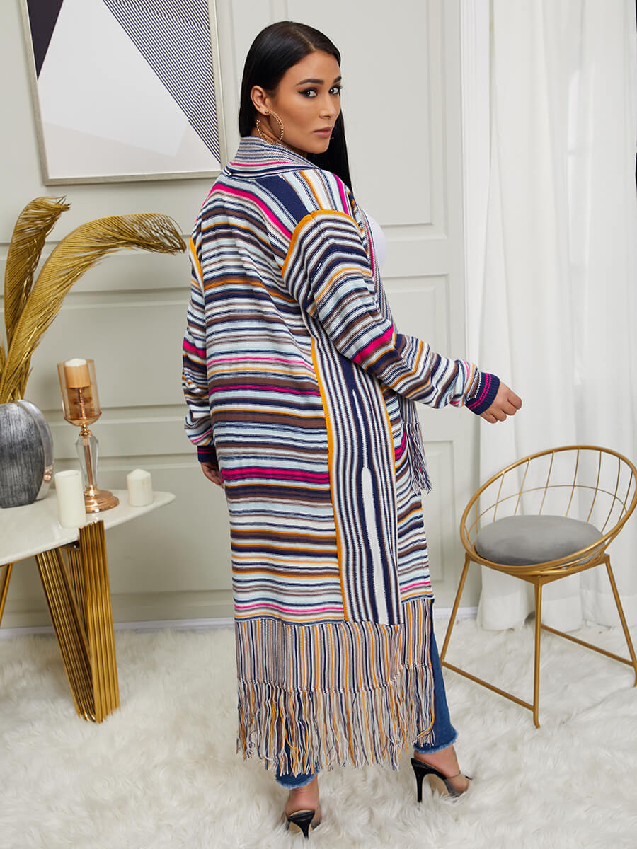 Lovely Trendy Rainbow Striped Tassel Design Multic