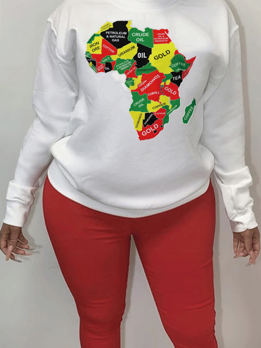 LW Lovely Casual O Neck Print White Plus Size Hoodie
