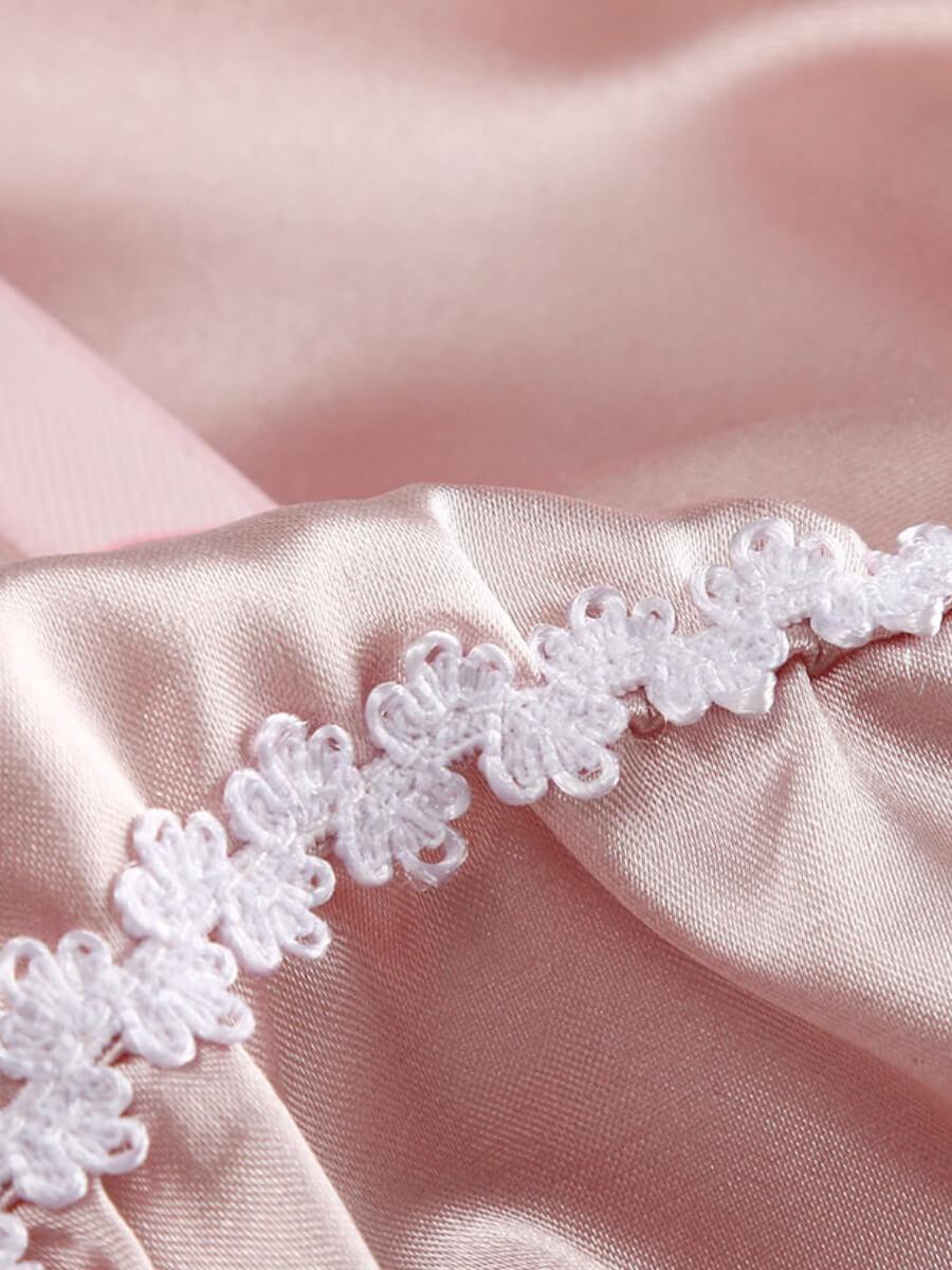 Lovely Sweet Fold Design Light Pink Sleepwear