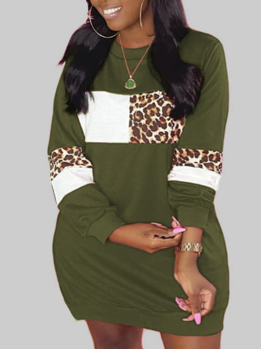 Lovely Casual O Neck Leopard Print Patchwork Green