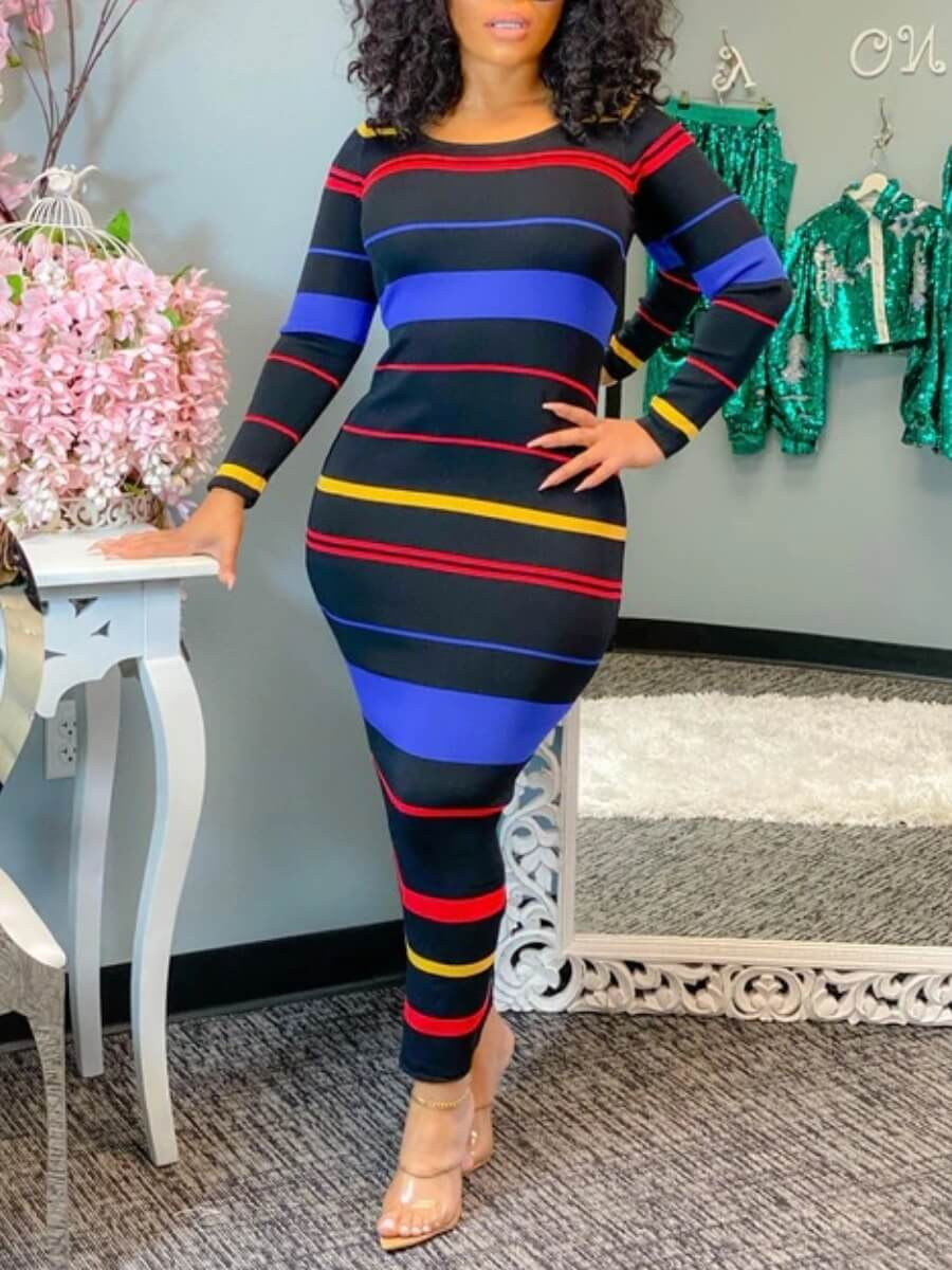 Lovely Casual O Neck Rainbow Striped Black Ankle L