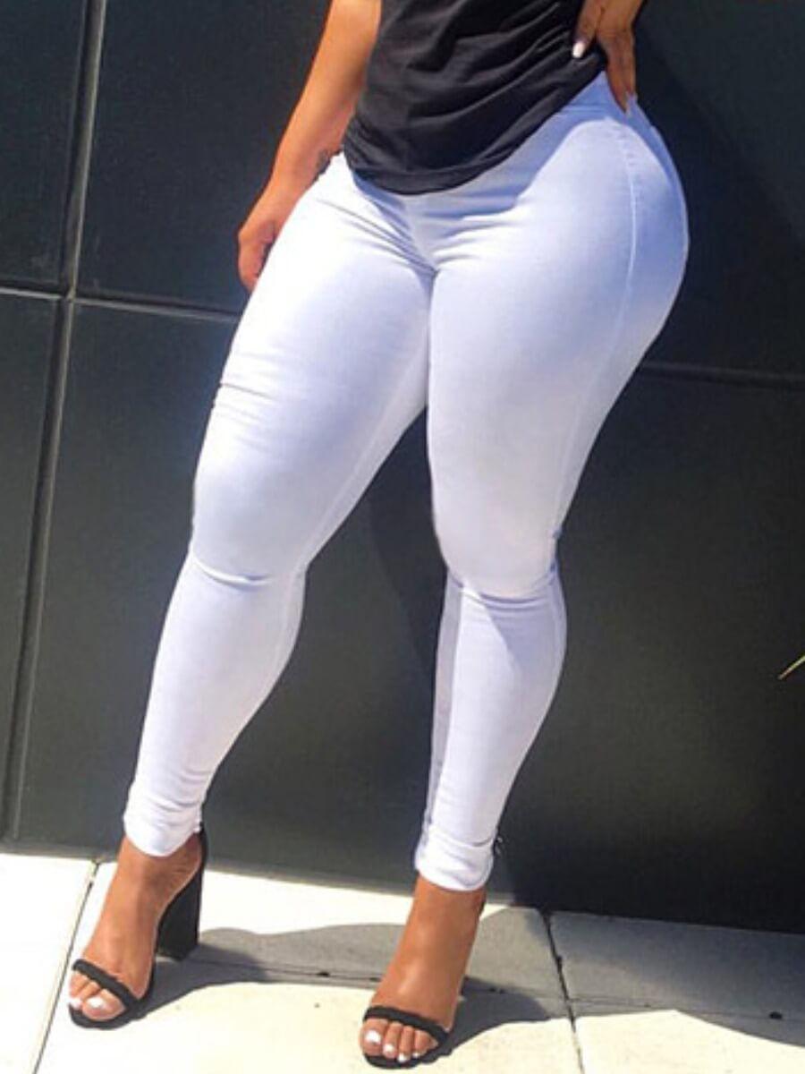 LW Lovely Casual Basic Skinny White Jeans