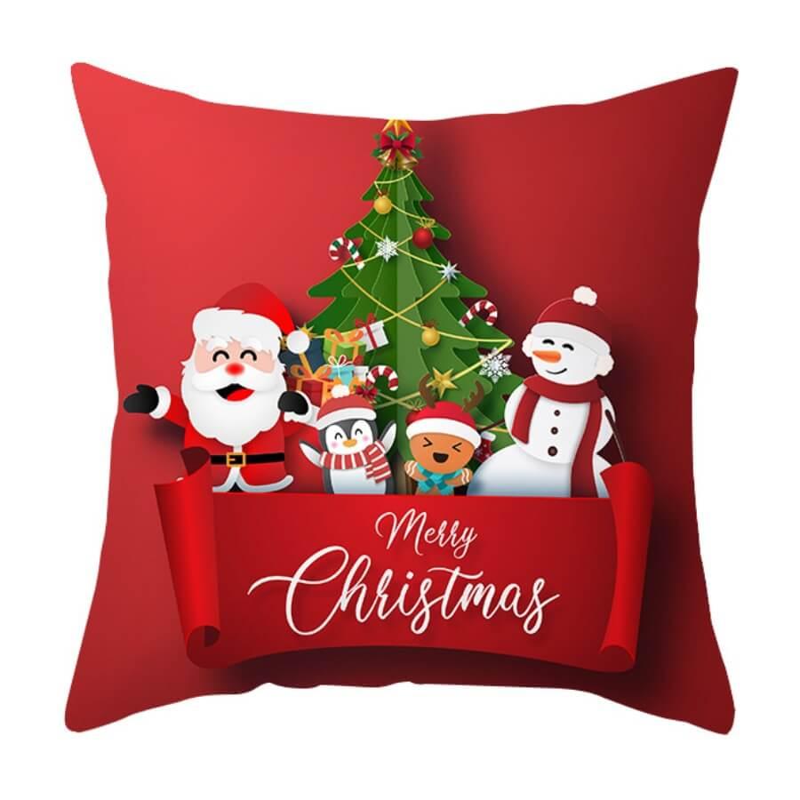 Lovely Trendy Cartoon Print Red Decorative Pillow