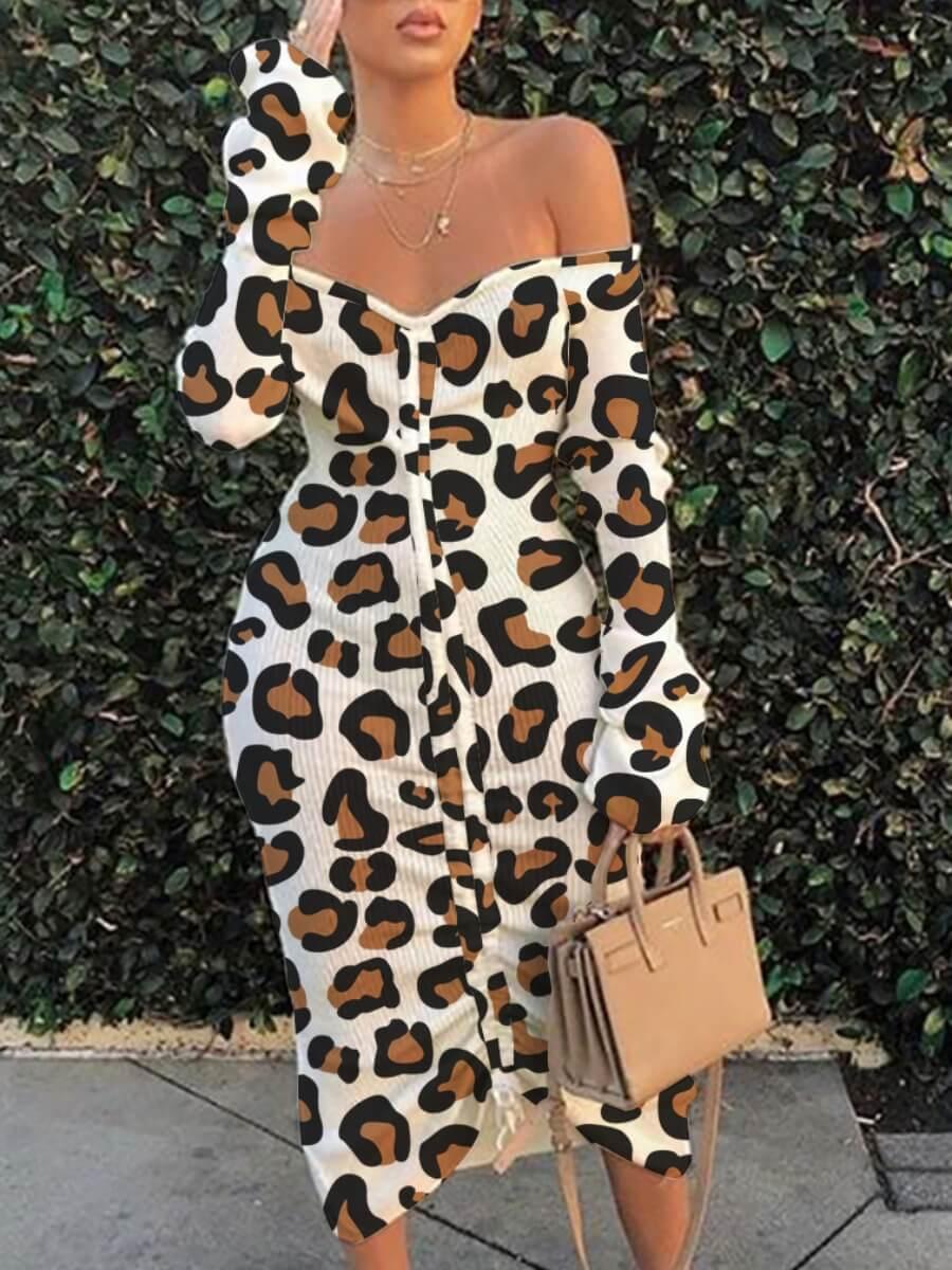 Lovely Street Off The Shoulder Leopard Print Mid C