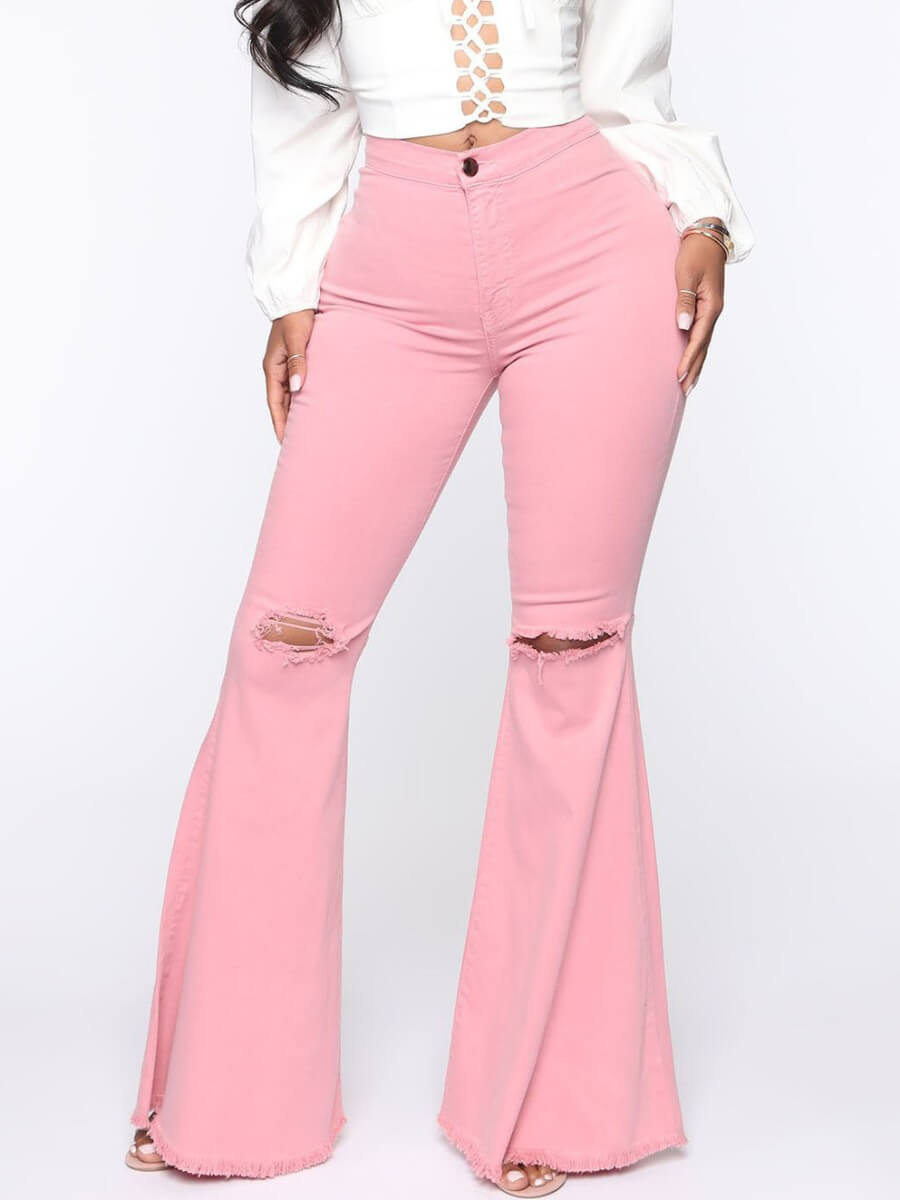 LW Lovely Casual Broken Holes Pink Jeans