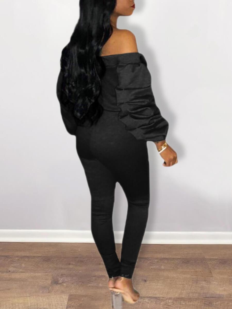 Lovely Trendy Dew Shoulder Fold Design Black One-p