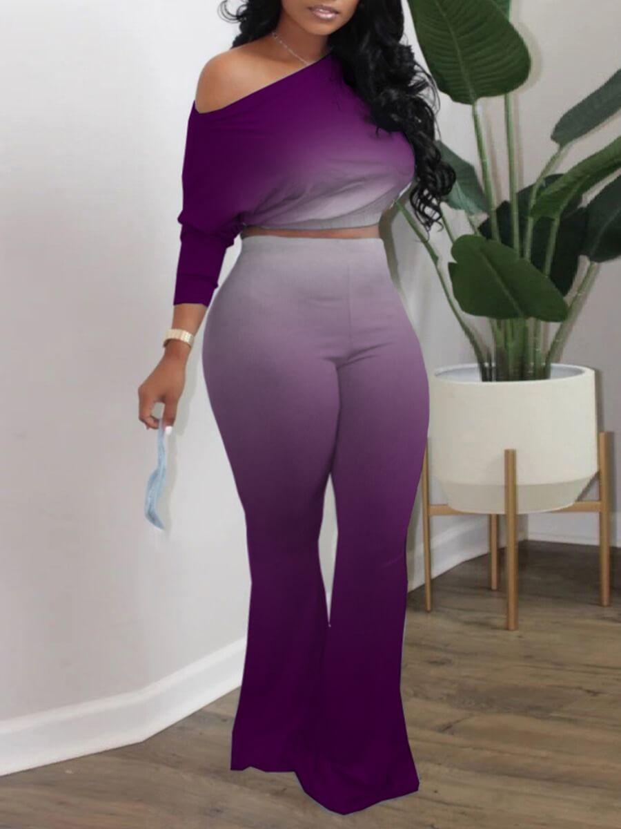 LW Plus Size Casual One Shoulder Gradient Purple Two-piece Pants Set