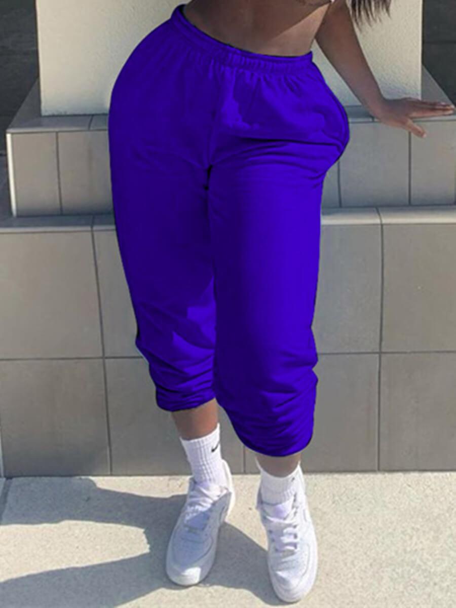 LW Lovely Casual Basic Blue Pants