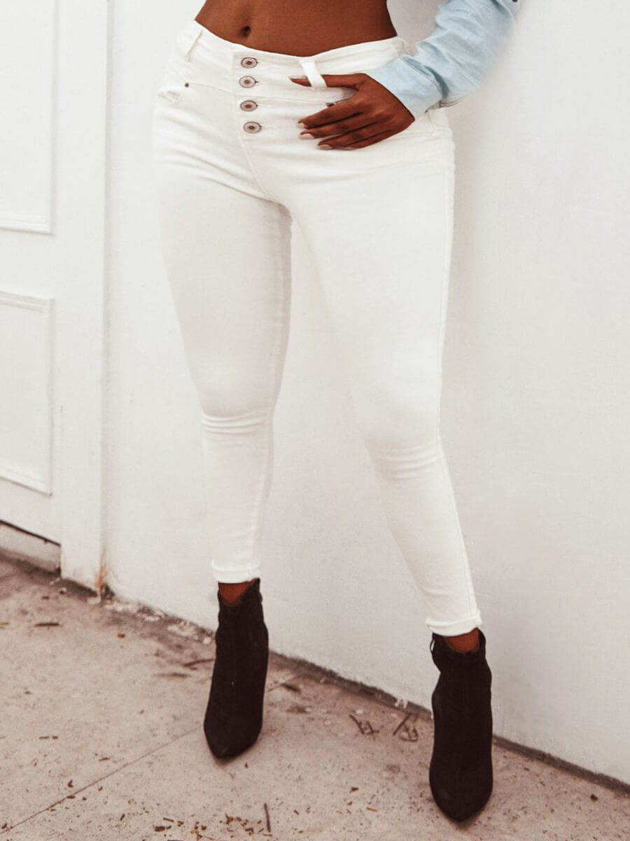 LW Lovely Casual Buttons Design White Jeans
