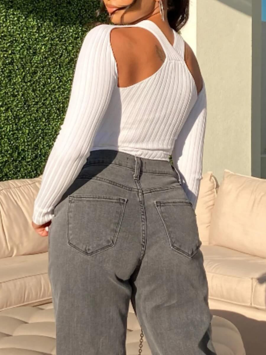 Lovely Street Sexy Hollow-out White Sweater