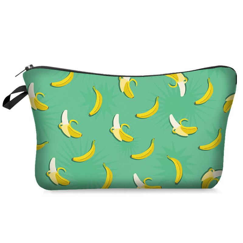 Lovely Trendy Banana Print Green Makeup Bag