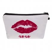 Lovely Stylish Lip Print White Makeup Bag