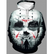 Lovely Stylish Hooded Collar Print Multicolor Men