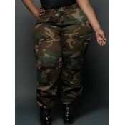 Lovely Casual Camo Print Army Green Plus Size Pants