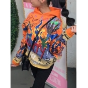 lovely Casual Hooded Collar Graffiti Print Orange Hoodie