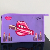Lovely Stylish Lip Print Purple Makeup Bags