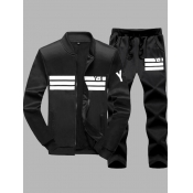 lovely Sportswear Patchwork Black Men Two-piece Pants Set