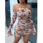 Lovely Sweet Dew Shoulder Print Coffe Mini Dress