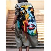 Lovely Street Turndown Collar Print Khaki Long Tre
