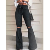 lovely Casual High-waisted Broken Holes Pitch-blac