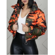 Lovely Casual Turndown Collar Camo Print Orange Parka