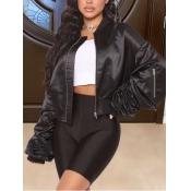 lovely Casual Zipper Design Loose Black Jacket
