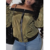 lovely Casual Dew Shoulder Patchwork Army Green Jacket