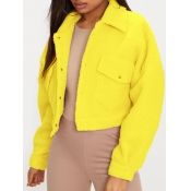 lovely Casual Turndown Collar Pocket Patched Yello
