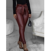 Lovely Trendy Lace-up Skinny Wine Red Pants