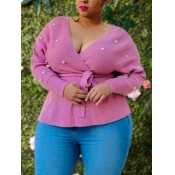 lovely Casual V Neck Pearl Decorative Pink Plus Si