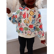 Lovely Casual Hooded Collar Print Apricot Girl Hoodie