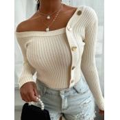 Lovely Street V Neck Buttons Design White Sweater