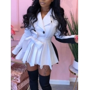 Lovely Trendy Turndown Collar Patchwork Fold Design White Mini Dress