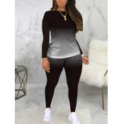 Lovely Casual O Neck Gradient Print Black Plus Size Two-piece Pants Set