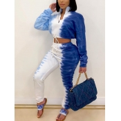 Lovely Trendy Tie Dye Zipper Design Blue Two Piece Pants Set